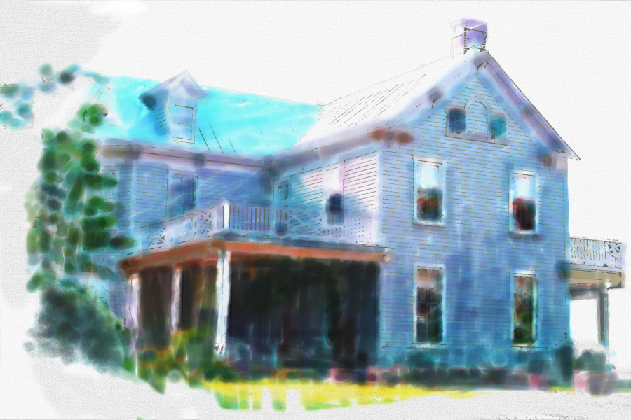 Blue house watercolor